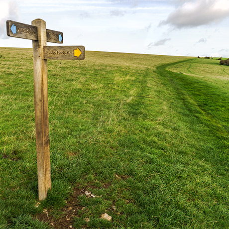 Photo of country path and signpost